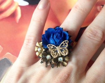 All Blue rose cut ring