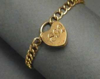 14K Gold Bracelet with gold-filled 1892 heart shaped lock for a small wrist #124