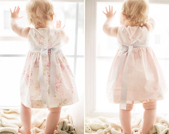 Reversible Baby Girl Special Occasion Dress, Infant Girl Clothes, Light Pink Floral Dress, Sweet Baby Summer Dress, Baby Flower Girl Dress
