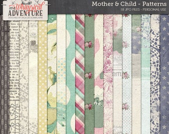Mother, baby, child, digital scrapbooking paperpack, digital download patterns, textures, backgrounds, art journaling, floral, plaid, doiley