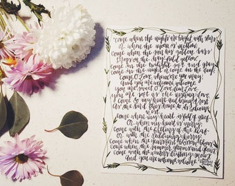 Invitation To Love Hand-lettered 8x10 Calligraphy Art