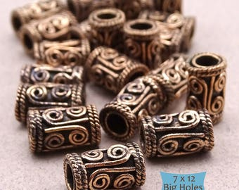 Hand Crafted Bali Style Coils Big Hole Copper Tube Beads--5 Pcs. | 46-160-5