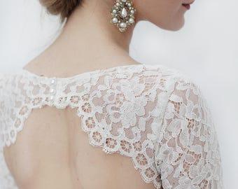 Short lace bodice open back wedding dress