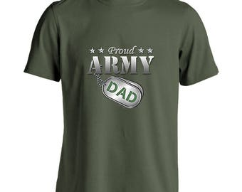 Proud Army Dad Military Green T-Shirt (Short Sleeve or Long Sleeve)