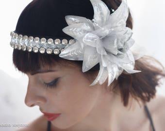 Headpiece/Silver/headdress/headdress/tribal Fusion bellydance/Tribal/vintage/Deco/boho/bohemian/diadema/wedding Headpiece/Flowers
