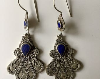 Earrings/ kuchi earrings/ pendientes kuchi/ lapislazuli/ boho earrings/ ethnic earrings