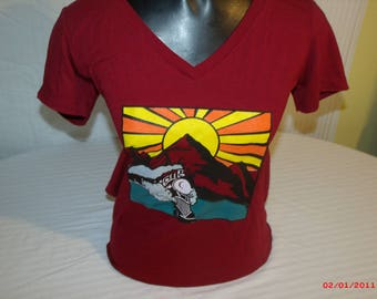 """Grateful Dead Shirt. This shirt is an  inspired """"He's Gone"""" Ladies V neck Next Level shirt in Scarlet."""