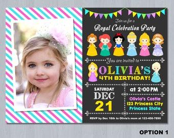Disney Princess Photo Invitation, Princess Photo Invitation, Princess Birthday Invitation, Princess Invitation
