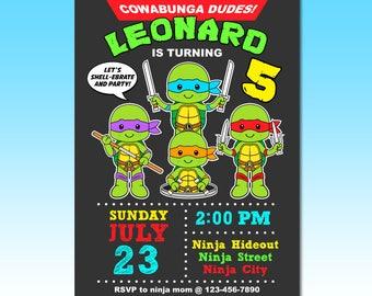 Ninja Turtle Invitation, Ninja turtle birthday invitation, tmnt invitation