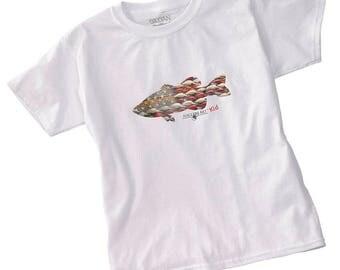 Kids Tee-patriotic white, Kids Tee Shirt, Kids Fishing Tee, American Theme, Girls Tee Shirts, Boys Tee Shirts, Kids Bass Fishing Tee