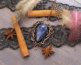 Christmas gift for mom Something blue teardrop necklace Bridal necklace Navy blue necklace Navy blue wedding necklace statement necklace