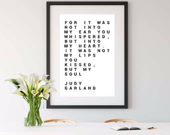 JUDY GARLAND QUOTE, judy garland, wall art, 8x10 print, wall art prints, art print, 8x10 print, 5x7 print, 4x6 print