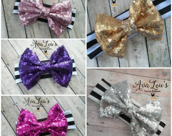 Sequin bows, Sparkle bows, Sequin Headband, Gold Bow, Pink Bow, Purple Bow, Silver Bow, Fuchsia bow, knit headband, black and white headband
