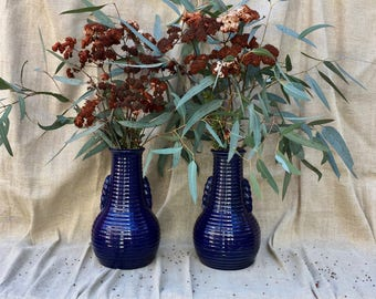 "Pair Antique Art Pottery Cobalt Blue Ringed Double Handle Vases Germany 11"" tall Marked 85 A"