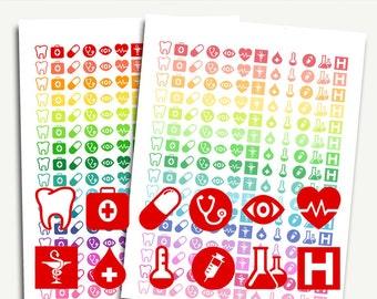 Health planner stickers, medicine planner stickers, medical planner stickers, doctor appointment planner stickers