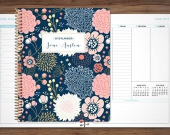 planner 2018 custom 2018 2019   12 month planner   student planner VERTICAL LAYOUT weekly calendar agenda daytimer / navy pink gold floral