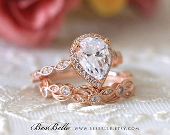 2.95 ct.tw Art Deco Bridal Set-Pear Halo Engagement Ring w/ Leaf & Vine Vintage Wedding Ring-Rose Gold Plated-Sterling Silver [65362RG-2A]