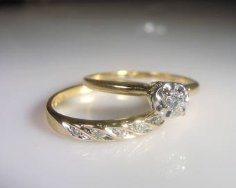 14K Gold Bridal Rings Set, Engagement Ring, Wedding Band, Diamond  Engagement Ring,