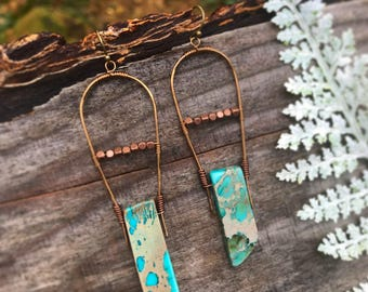 Earrings - Copper & Turquoise Agate