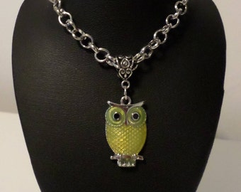 Yellow owl necklace