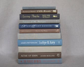 Gray, Brown, Blue and Ivory Book Bundle, Decorative Book Set