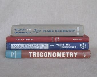 Vintage Geometry and Trigonometry Textbook Bundle
