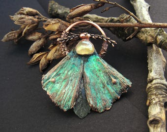 copper ginkgo moth green pendant with glass drop