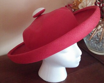 Vintage Red  Straw Wide Up Brim Hat By Leslie James