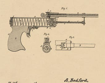 Spring Air-Pistol Patent #172376 dated January 18, 1876.