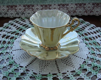 Shafford Japan Hand Decorated  - Vintage Tea Cup and Saucer - Pale Yellow Iridescent with Gold Design and Trim