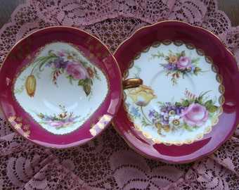 Foley - Bone China England - Vintage Wide Mouth Tea Cup and Saucer - Floral Center, Maroon Band, Gold Design