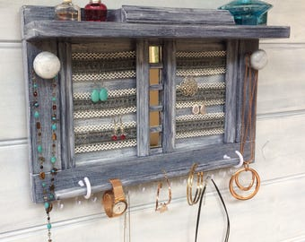 """Jewellery organiser with shelf - 16"""" Blue-gray - Lace for earrings - Jewelry organizer - Rings studs box - Mirrors - Bangle bar - Knobs"""