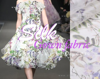 Buy Printed tulle fabric organza silk by the YARD purple floral fabric