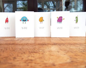 Get Well Cards Pack of Five // 5 Cute Get Well Bug Greetings Cards //Set of Get Well Soon Cards for Friends and Family