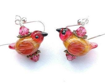 Glass Bird Earrings/ Bird Jewelry/ Handmade Lampwork Earrings