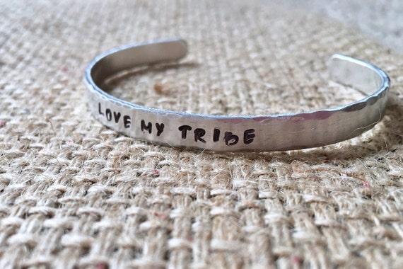 Love My Tribe Cuff, BFF Silver Cuff, Bridesmaid Gift Cuff, Tribe Engraved Cuff, My Tribe Bracelet, Sister Cuff Bracelet, BFF Gift Ideas