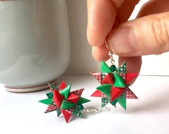 Origami Christmas Earrings // Scandinavian Stars // Froebel Stars // German Christmas Stars // Red and Green // Swarovski Crystal