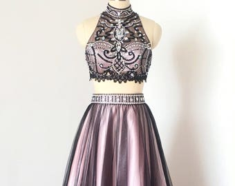 Gorgeous Two Piece Black Tulle Pink Lining Short Homecoming Dress 2017