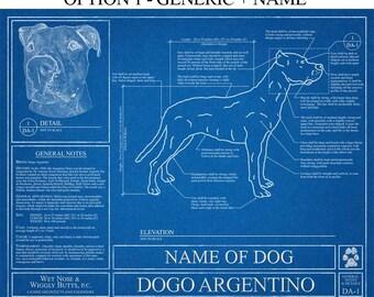 Personalized Dogo Argentino Blueprint / Dogo Argentino Art / Dogo Argentino Wall Art / Dogo Argentino Gift / Dogo Argentino Print