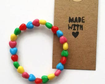 Children's multi coloured heart bracelet
