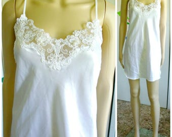 80's Short Slip/New With Tag/White Satin/Lace/Pearls/Sequins/California Dynasty/Vintage Slip/1980's