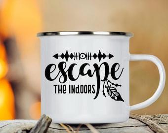 Camp Cup Escape the Indoors - Enamel Camp Mug - Dishwasher Safe