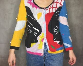 Vintage 1980s colourful hand knitted mix pattern cardigan