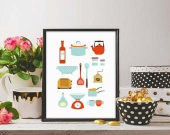 Kitchen Prints, Modern Kitchen Art, Kitchenware Prints, Mod Kitchen, Modern  Art Print