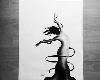 "ORIGINAL 3/3 Serie ""... Laisse toi aller"" - Dance music illustration"