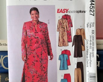 2004 McCalls Pattern # 4527-Women's Tunic in 3 Lengths-Caftan-Sleeve, Collar & Closure Options-Pants in 2 Lengths-Sz 26W-32W-Bust 48-54-UC
