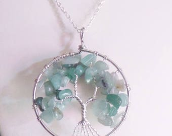 Long necklace silvery copper tree of life and aventurine