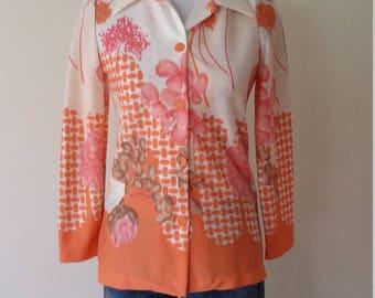 70's top, XS, S, long sleeve top, mod top, mod blouse, peach top, peach blouse, pastel blouse, pastel top