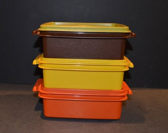 Vintage Square Sandwich Tupperware Containers #1362