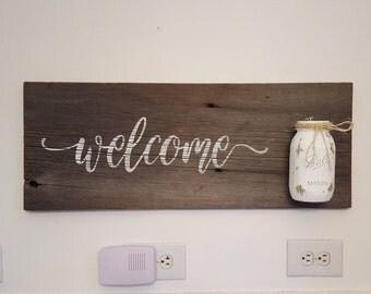 "Barnwood welcome sign - mason jar - 11.5"" x 30"""